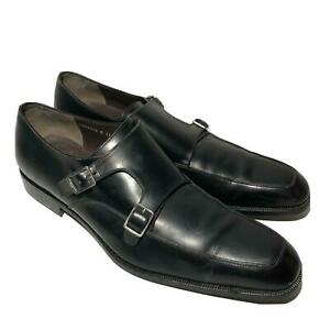 Salvatore Ferragamo Mens Shoes 13 D Tramezza Black Leather Double Monk Buckle