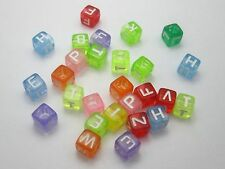 500 Assorted Colourful Transparent Acrylic Alphabet Letter Cube Beads 6X6mm