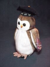 1998 WISE - GRADUATING OWL TY BEANIE BABY CHINA PLUSH WITH TAGS PE PELLETS