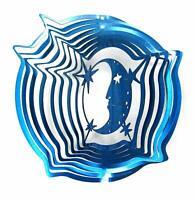 WorldaWhirl Whirligig 3D Moon Face Stars Wind Spinner Stainless Kinetic Twister