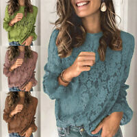 Womens Lace Floral Blouse Tops Long Sleeve T Shirts Jumper Flare Sleeve Shirts