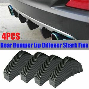 4PCS Carbon Fiber Style Car Rear Bumper Diffuser Shark Fins Splitter Accessories