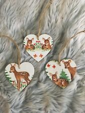 Christmas Handmade Wooden Hanging Hearts tree Decorations Deer Forest set of 3