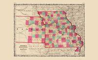 Missouri Kansas - Johnson 1860 - 23.00 x 37.34
