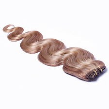 """26"""" Remy Human Women's Hair Extensions Weave Weft Wavy Body 100g Blonde #27/613"""