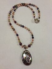 """Sterling Silver 925 Seahorse Pendant w Abalone and Pearl Necklace 23"""""""