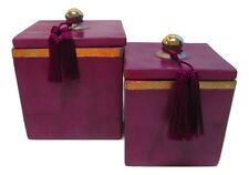 Moroccan Set of 2 Spice Jar Canisters in Painted Terracotta & Metal Decor Purple