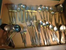 SILVER PLATED FLATWARE FOR CRAFTING-SERVING SPOONS 60 PIECES
