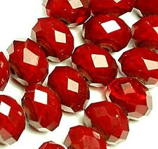 4x7mm Faceted Ruby Quartz Rondelle Beads 16""