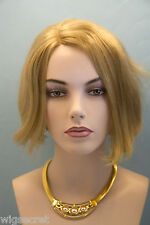 Gold Blonde  Light Gold Brown Frost Blonde Medium Human Hair  Straight Wigs