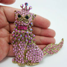 "4.5"" Cat Crown King Pendant Pin Brooch Pink Rhinestone Crystal Tail Rotatable"