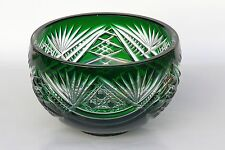 SALAD BOWL, 17cm wide, GREEN Cut to clear Overlay/ Cased Crystal, Russia