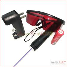 Vs7 405nm Adjustable Focus Burning Purple Laser Pointer Battery&Charger& Goggles
