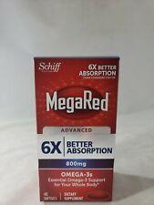 MegaRed avanzato Triple assorbimento 800mg 40 CAPSULE Omega - 3 olio di pesce 6X 03/2021
