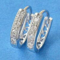 10k WHITE GOLD GF HUGGIE HOOP EARRINGS SAPPHIRE U SHAPE 1.8g JEWELRY #Y73
