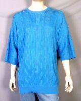 vtg 90s euc Clench 701 Jeans Blue 1/2 Sleeve Sweater Biggie Coogi Style rap XXL
