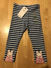 BNWT M&S Girls Trousers 2-3 Years Blue Striped Glitter Responsibly Source Cotton