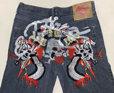 Ed Hardy By Christian Audigier Mens Jeans Button Fly Embroidered Japan Sz 36