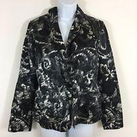 Chicos Womens Blazer sz M sz 1 Black White Print Pleated Jacket Career M10