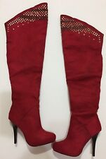 Wild Rose Red Faux Suede Over The Knee High Heels Studs Stilettos Boots Size 5.5