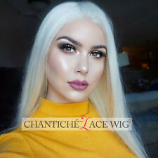 Women's White Blonde Front Lace Wig Natural Straight Synthetic Hair Wigs Heat OK