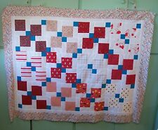 AF0822 Handmade Patchwork LAP QUILT TOP, Disappearing 9-Patch, 49 x 61.5 REDS