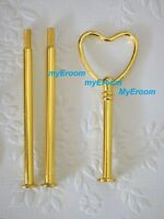 Cake Stand Fitting 3 Tier GOLD HEART Handle Wedding High Tea Plate Hardware