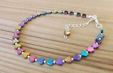 Rainbow Hematite Hearts Beads Ankle Bracelet Beach Festival Anklet Healing