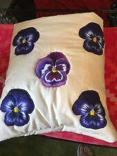 New Handmade Purple Pansies Quillow (Pillow w/ 6ft long quilt inside!)