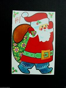 #D973- Vintage Paper Doll Cut Out Xmas Greeting Card Santa & Floral Gift Bag