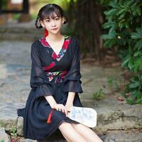 Women's Dress Chinese Elements Vintage Sweet  Hanfu Kimono Dress Black New