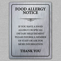 Metal Food Allergy Safety Notice Brushed Aluminium A5 Size UK MADE