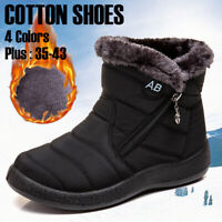 Women Winter Warm Shoes Snow Boots Fur-lined Slip On Warm Ankle Shoes Waterproof