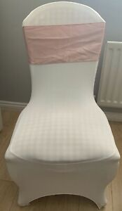 30 Rose Gold Taffeta Chair Sashes, slightly used. Covers not Incuded