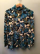 Susan Graver Women's Sz Large Long Sleeve Turtleneck Green Floral Patterned Top