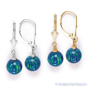 Peacock Blue Fiery Opal Gem Dangling Drop Earrings 14k 14kt Yellow or White Gold