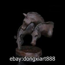 25 CM Western Art Deco Pure Bronze Copper Zebra Horse Pinto Equine Art Sculpture