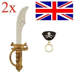 2x Kids Pirate Sword Earring & Eyepatch Fancy Dress Set Cutlass Eye Patch Party