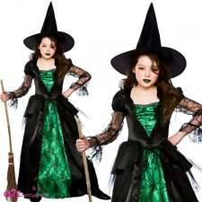 Girls Deluxe Emerald Wicked Witch Gothic Halloween Kids Fancy Dress Costume 11 - 13 Years Hg-6035