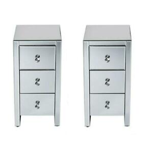 Pair of 3 Drawers Mirrored Glass Bedside Table Side Cabinet Crystal Handles