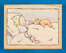 Sleeping Baby with Teddy Bear Rubber Stamp by All Night Media - First Friend