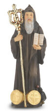 "Saint Benedict  Figurine Statue, Hand Painted Gold Leaf Accents 4"", Boxed"