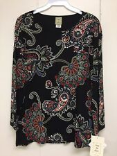 Jess and Jane Lollipop Black Shirt 3/4 Sleeve Size Extra Large XL New with Tags