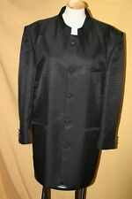 Men's black mandarin collar Chinese tunic suit jacket dress coat 42 L