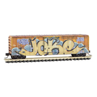 Railbox 50' Ribside Boxcar Tell A Joke Weathered/Graffiti MTL #02545013 N Scale