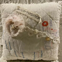 """Handmade """"Good Wishes"""" Pillow Vintage Quilt   Chenille 9 x 9 x 4""""  Fabric Flower"""