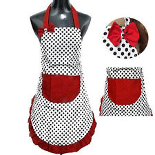 Cute BowKnot Dot Women Kitchen Restaurant Bib Cooking Aprons With Pocket nice