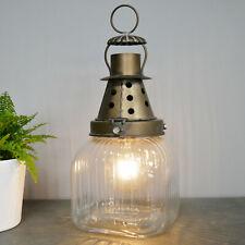 Vintage Industrial Standing Metal Glass Bedroom Side Table Desk LED Light Lamp A