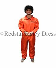 Costume homme prisonnier orange & menottes déguisement combinaison stag party condamner