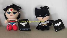 NWT DC COMICS BATMAN & WONDER WOMAN Plush Backpack Clip On Keychain Collectible